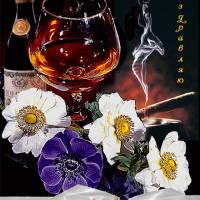 Скачать gif картинку: Цветы, шампанское к 23 февраля